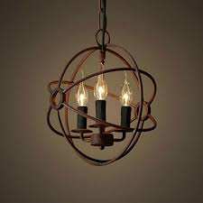 perfectshow 3 lights vintage edison metal shade round hanging ceiling chandelier retro iron rustic spherical ceiling pendant light