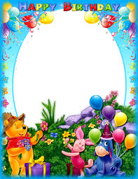happy birthday frame with winnie the pooh