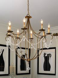 the crystal light chandelier adds an elegant touch to this space