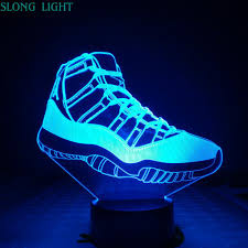 Jordan Shoes With Lights Us 9 93 29 Off Michael Jordan 11 Sneakers Table Lamp Bedroom 3d Illusion Rgb Decorative Lights Child Kids Night Light Led Air Jordan Shoes Men In