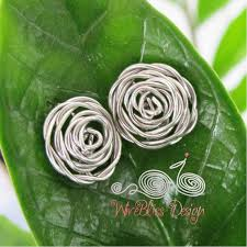 wire wrapped rose earrings