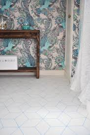 hex patterned bathroom floor