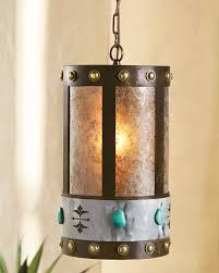 Turquoise Stone Round Pendant Light