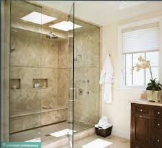 Large shower: double shower heads, cubbies and lots of light.