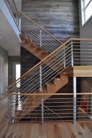 Best Hickory With Horizontal Stainless 2 Contemporary Staircase regarding  Horizontal Banister