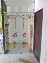 glass printed temple door 5mm rs 2000