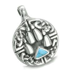 amulet celtic shield knot and wolf paw protection charm magic powers triangle energy turquoise gem pendant