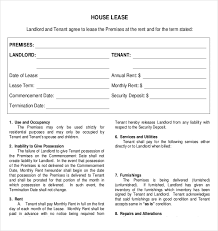 house lease agreement example