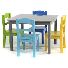 chairs tutors elements grey wood table and 4 colored chairs sy construction engineered wood table and