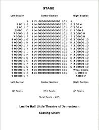 Rapids Theatre Seating Chart Seating Chart Lucille Ball Little Theatre Of Jamestown