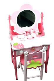 pink girls dressing table small wooden vanity desk mirror stool kids furniture childrens set