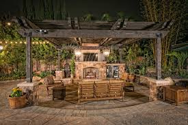 outdoor living room fireplace paver patio