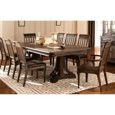 empress inspired grand rustic espresso dining set with metal accents 1 table 10 side chairs brown size 11 piece sets