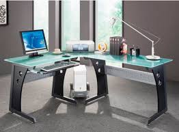 home office glass desks. Ordinaire Graphite Frosted Glass L Shaped Computer Desk With Cpu Caddy Modern Home Office Desks