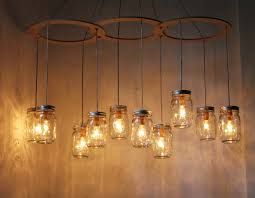 ... Wonderful Image Of Interior Lighting Decoration Using Canning Jar Lamp  : Simple And Neat Decorative Hanging ...