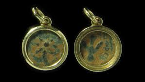 ancient coins 14kt solid gold pendant with a biblical widows mite coin from the time