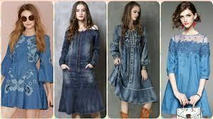 Jeans Dress Designs Top Stylish 100 Denim Dresses For Girls Cotton Jeans Frocks Shirts Designs 2019