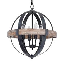 metal and wood chandelier. Distressed Weathered Oak 4-Light Wood Orb Chandelier - Free Shipping Today Overstock 25682555 Metal And O