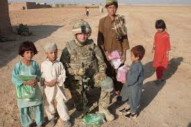 private marshall a pany 1st battalion the yorkshire regiment with afghan children who