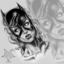 девушка бэтмен эскиз для тату на плече или татуировки на ноге эскиз