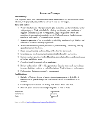 Restaurant Manager Description For Resume Resume Online Builder