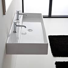 bathroom sink scarabeo 8031 r 120b rectangular white ceramic wall mounted or