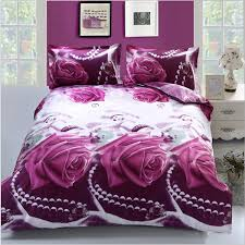 4pcs 3d purple rose reactive dyeing bedding sets queen king size polyester fiber duvet cover