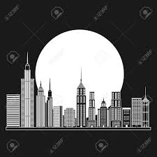 theme urban buildings and moon icon big city architecture and urban theme