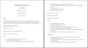 Call Center Resume Resume For Customer Service Call Center