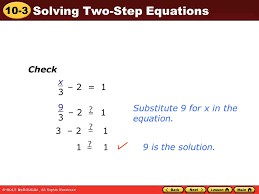 check x 3 2 1 9 3 substitute 9 for x in the equation