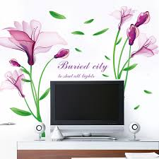 Small Picture Aliexpresscom Buy Removable Purple Flower Fantasy Wall Sticker