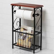 wrought iron bathroom shelf. Freestanding Wrought Iron Magazine Rack With Tissue Holder : Useful And Beautiful Bathroom Shelf