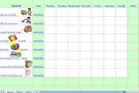 Weekly Chore Chart Template For Kids Chores Template Excel Margarethaydon Com
