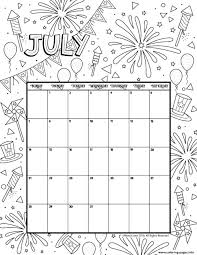 July 2019 Coloring Calendar Coloring Pages Printable