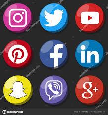 Youtube Icon Template Round Social Media Logo Or Social Media Icon Template Set