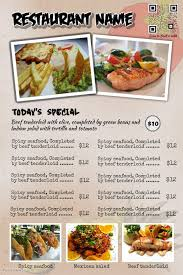 Restaurant Menu Poster And Menu Flyer Postermywall Design Style