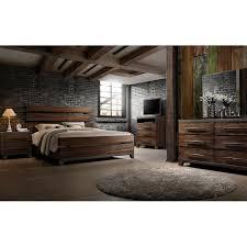 Modern Rustic Brown 4 Piece King Bedroom Set  Forge