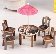 wooden fairy table chairs with parasol