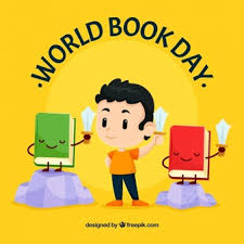 reading open book cartoon world book day background with reading man vector of reading open book