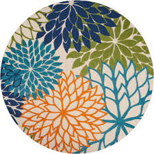 nourison aloha multi 8 ft x 8 ft indoor outdoor round area rug