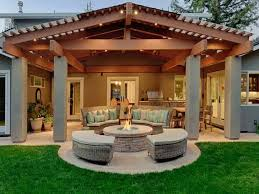 Roofed Patio With Columns And Fire Pit