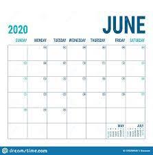 June 2020. Calendar Planner. English Calender Template. Vector Square Grid.  Office Business Planning. Creative Design. Blue Color Stock Vector -  Illustration of original, planning: 159258948