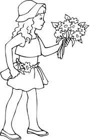 Een Meisje Met Een Boeket Bloemen In Haar Hand Kleurplaat Gratis