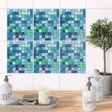 Fliesenaufkleber Set Rechteckig Für Küche Bad Mosaik Grün Blau