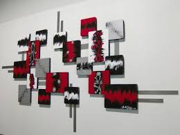 red black silver wall art