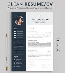 Best Modern Clean Resume Design Illustrator Resume Resume Word Template Cv Template