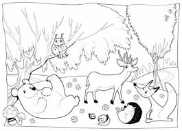 Small Picture Coloring Pages Amusing Forest Coloring Page Roe And Bambi In The