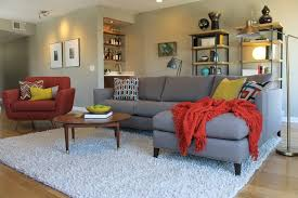 white shag rug living room. Mid Century Modern Living Room With Bookcases And White Shag Rug Midcentury- Living-room I