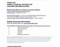 Federal Resume Builder Template Free Printable Examples