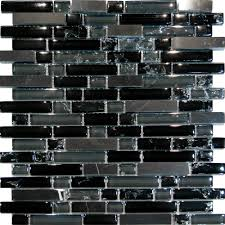 Mosaic Tiles In Kitchen Details About Sample Black Marble Crackle Glass Linear Mosaic